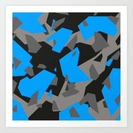 Black\Grey\Blue Geometric Camo Art Print