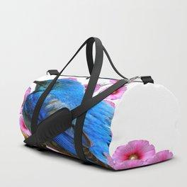 DECORATIVE BLUE BIRD & PINK HOLLYHOCKS VIGNETTE Duffle Bag
