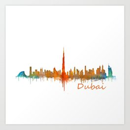 Dubai, emirates, City Cityscape Skyline watercolor art v2 Art Print