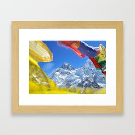 Summit of mount Everest or Chomolungma - highest mountain in the world, view from Kala Patthar,Nepal Framed Art Print
