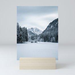 Mountains and frozen lake Zgornje Jezersko Mini Art Print