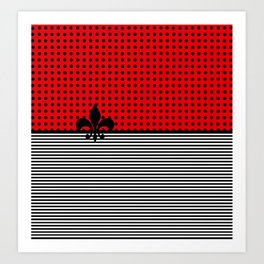 Cherry Red -  Dots and Lines Art Print
