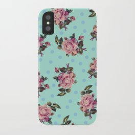 Pink Roses on Blue iPhone Case