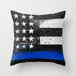 Thin Blue Line - Back the Blue Throw Pillow