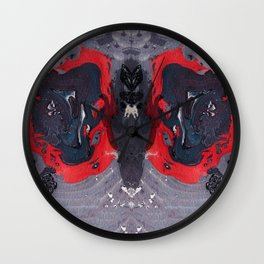 Purple Butterfly Marble Painting Wall Clock