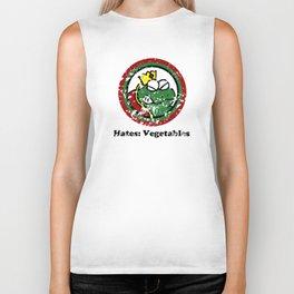Hates: Vegetables (Battle Damage) Biker Tank