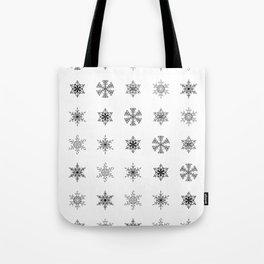 Snowflake Pattern - Black and white winter snowflake pattern artwork Tote Bag