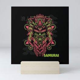 Dark Japanese Samurai Mask Mini Art Print