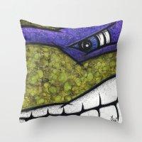 teenage mutant ninja turtles Throw Pillows featuring Donatello (Teenage Mutant Ninja Turtles) by chris panila