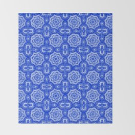 Sapphire Blue Doily Floral Throw Blanket