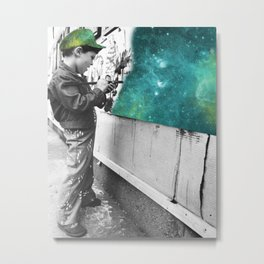 KID PAINTING THE UNIVERSE Metal Print