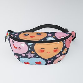 Funny Kawaii heart pink, orange, blue green, on black background Fanny Pack