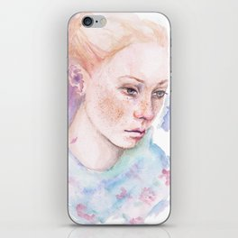 Waterolor portrait of a girl iPhone Skin