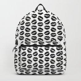 Black Glitter Lips Backpack