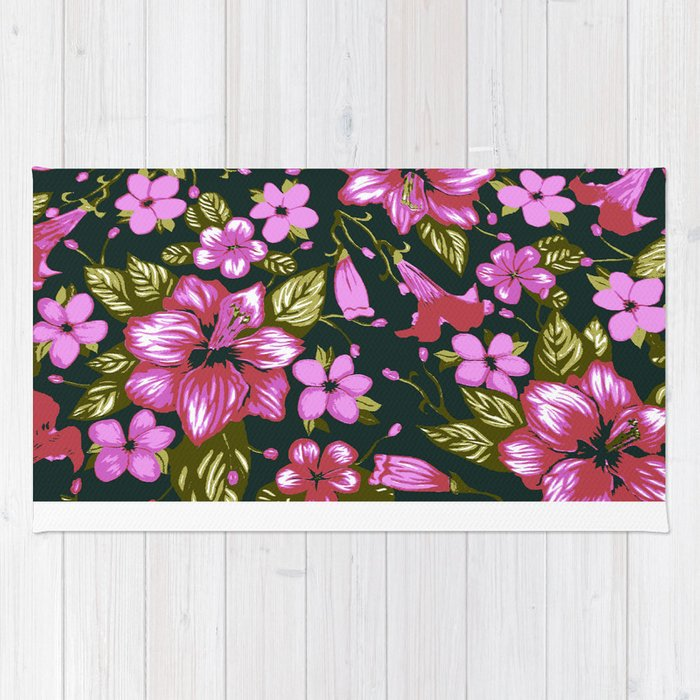 Tropical Floral Pink Rug