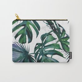 Tropical Palm Leaves Classic on Marble Carry-All Pouch