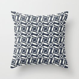 Banded Together - Geometric Slate Blue Throw Pillow