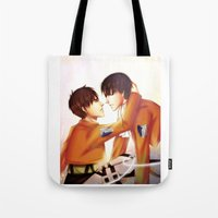 levi Tote Bags featuring Levi x Eren by TEAM JUSTICE ink.