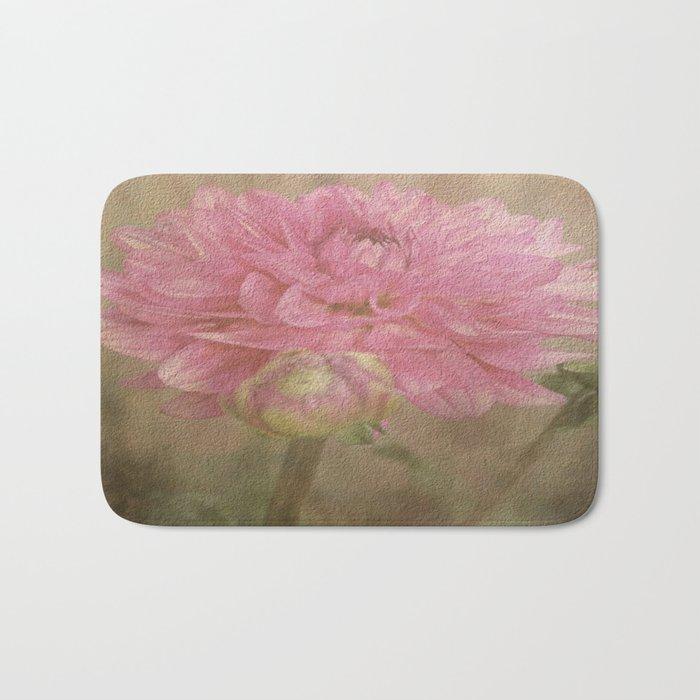 Soft Graceful Pink Painted Dahlia Bath Mat