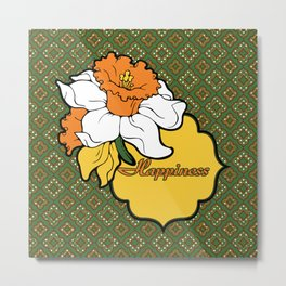 Qua-trefoil Daffodils Metal Print