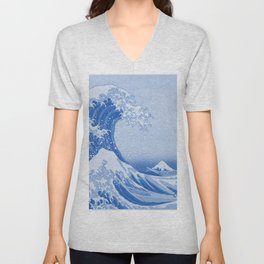 Cerulean Blue Porcelain Glaze Japanese Great Wave Unisex V-Neck