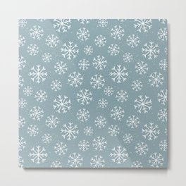 Merry Christmas Wintertime - Snowflakes pattern Metal Print