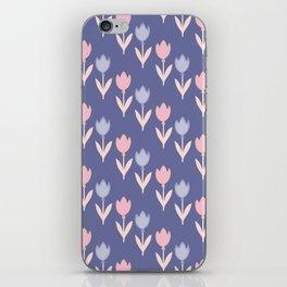 Modern hand painted pink lavender violet tulip floral iPhone Skin