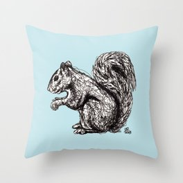 Blue Woodland Creatures - Squirrel Throw Pillow