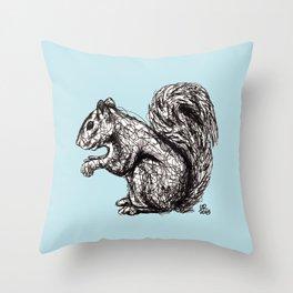 Blue Woodland Creatures - Squirrel Throw Pillow