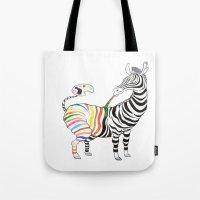 zebra Tote Bags featuring Zebra by gunberk