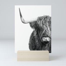c66d91525fb Highland Cow Portrait - Black and White Mini Art Print