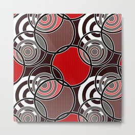 Retro . Abstract Christmas red black pattern . Metal Print