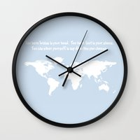 dr seuss Wall Clocks featuring Dr. Seuss inspirational quote with earth outline by Dustin Hall