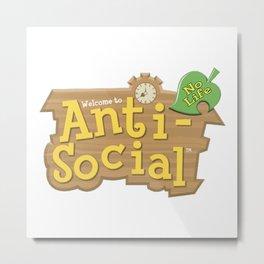 Animal Crossing Anti-Social Metal Print