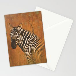 Zebra painting acrylic and iron oxide on canvas large painting Stationery Cards