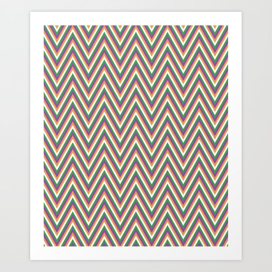 Retro chevron Art Print