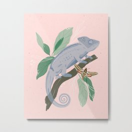 Blue Chameleon Metal Print