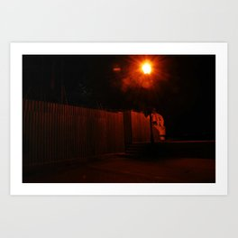 Streetlights and Fences Art Print