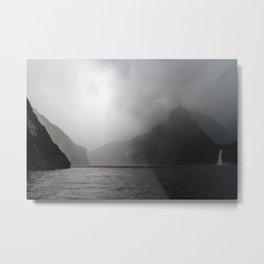 Foggy Milford Sound Metal Print