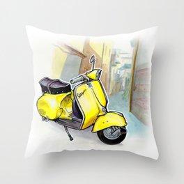 Giallo Vespa (Motocicletalia) Throw Pillow