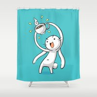 chocolate Shower Curtains featuring Hot Chocolate by Freeminds