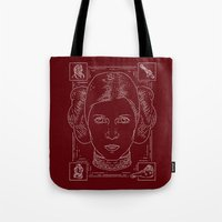 princess leia Tote Bags featuring Leia by Jon Deviny