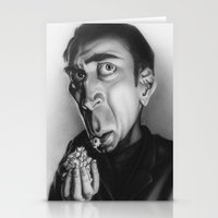 nicolas cage Stationery Cards featuring Nicolas Cage with popcorn. by Patrick Dea