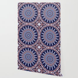 Mandala Fractal in Red White and Blue 02 Wallpaper