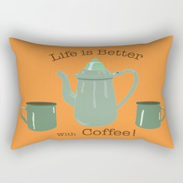 Life is Better with Coffee Illustrated Typography Rectangular Pillow