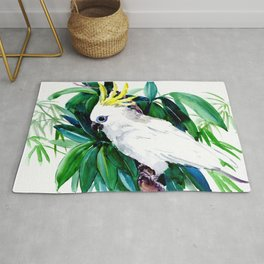 Tropical Jungle, Parrot White Cockatoo and Tropical Foliage Rug