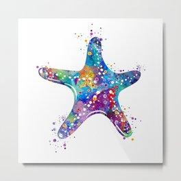 Starfish Art Colorful Blue Purple Watercolor Gift Ocean Decor Nature Art Sea Life Art Metal Print