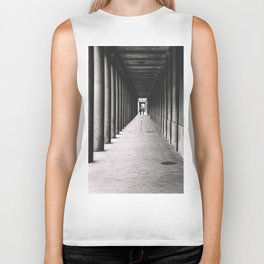 Arcade with columns in Copenhagen, architecture black and white photography Biker Tank