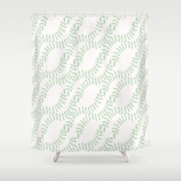 Pastel Leaves Intertwined Seamless Pattern Hand Drawn Nature Shower Curtain