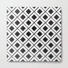 Diamond Line Grid // black Metal Print